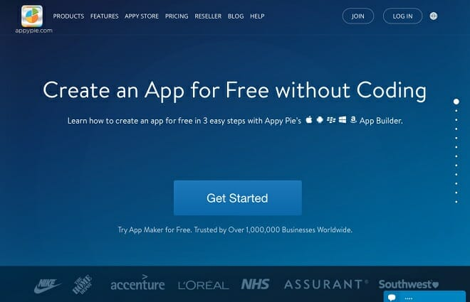 Screenshot appy pie website