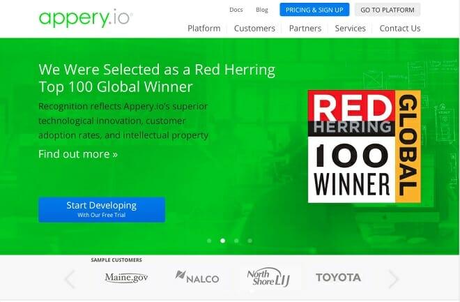 Appery.io screenshot homepage