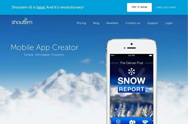 Shoutem app creator screenshot