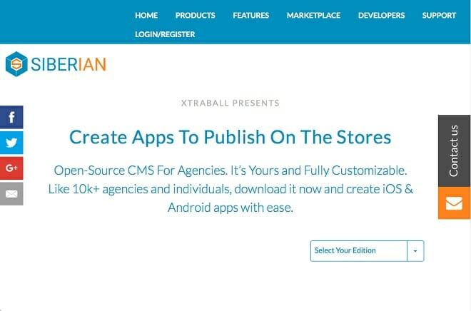 Siberian opensourche app builder screenshot